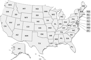 Map if the United States of America